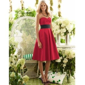 Red Strapless Dress with Black Belt